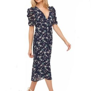 All in Favor Ruched Sleeve Floral Midi Dress